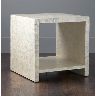 Kalani side table with capiz White