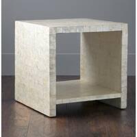 Kalani Off-White Cube Capiz Accent Table