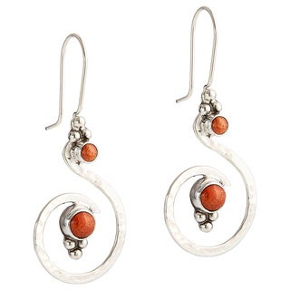 Handcrafted Sterling Silver Swirl Earring with Stone Dangle Earrings (Mexico)