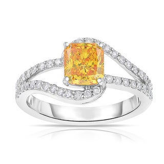 Solaura Collection 14k White Gold 1 5/8ct TDW Radiant-cut Lab-grown Diamond Swirl-inspired Ring (Yellow, SI2-I1) SI
