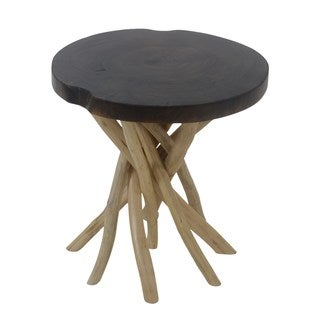 Akela Round Side Table Black Burn Top