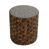 East At Main's Aineki Wood Mosaic Round Side Table