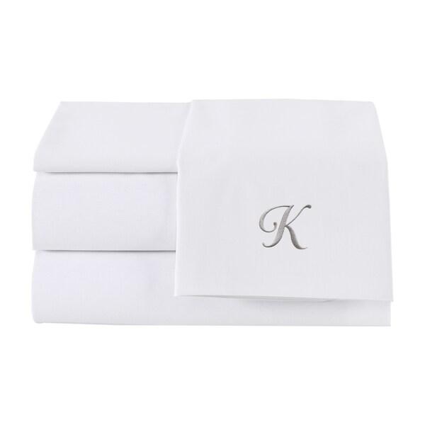 Pamuk Luxury Monogrammed Soft White Solid 300 Thread Count 100-percent Turkish Cotton 4-Piece Sheet Set
