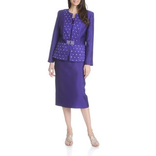 Ella Belle New York Women's Rhinestone Embellished 3-piece Skirt Suit