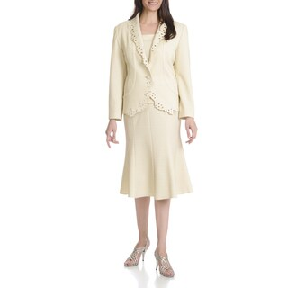 Ella Belle New York Women's Laser Cut 3-piece Skirt Suit