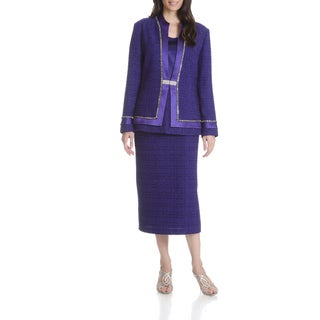 Mia-Knits Women's Textured Rhinestone 3-piece Skirt Suit