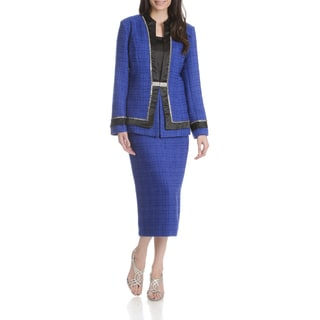 Mia-Knits Women's Textured Rhinestone 3-piece Skirt Suit