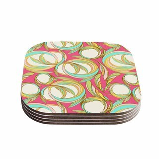"Kess InHouse Amy Reber ""Cirle Sings"" Pink Yellow Coasters (Set of 4) 4""x 4"""