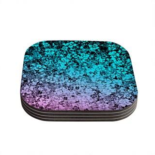 Kess InHouse Ebi Emporium 'Flower Power in Aqua' Blue Purple Coasters (Set of 4)