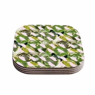 """Kess InHouse Anchobee """"Aisha"""" Green Pattern Coasters (Set of 4) 4""""x 4"""""""