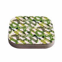 "Kess InHouse Anchobee ""Aisha"" Green Pattern Coasters (Set of 4) 4""x 4"""