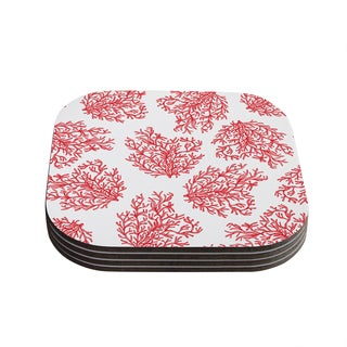 """Kess InHouse Anchobee """"Coral"""" Red White Coasters (Set of 4) 4""""x 4"""""""