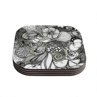 Kess InHouse Anchobee 'Doodle Dos' Gray Green Coasters (Set of 4)
