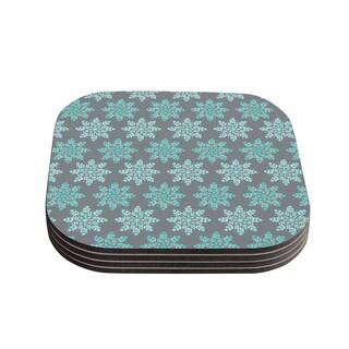 "Kess InHouse Anchobee ""Blue Christmas"" Blue Gray Coasters (Set of 4) 4""x 4"""