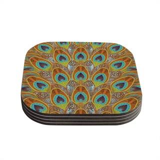 Kess InHouse Art Love Passion 'Peacock Pattern' Brown Teal Coasters (Set of 4)