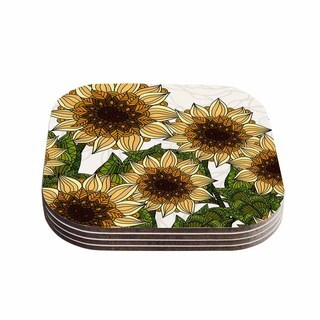 Kess InHouse Art Love Passion 'Sunflower Field' Beige Yellow Coasters (Set of 4)