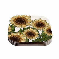 "Kess InHouse Art Love Passion ""Sunflower Field"" Beige Yellow Coasters (Set of 4) 4""x 4"""