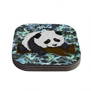 "Kess InHouse Art Love Passion ""Panda"" Black White Coasters (Set of 4) 4""x 4"""