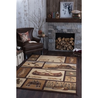 Alise Rugs Natural Brown Novelty Area Rug (3'11 x 5'3)