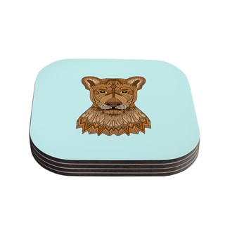 "Kess InHouse Art Love Passion ""Lioness"" Blue Brown Coasters (Set of 4) 4""x 4"""
