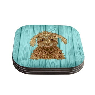 """Kess InHouse Art Love Passion """"Gatsby the Great"""" Brown Dog Coasters (Set of 4) 4""""x 4"""""""