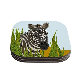 "Kess InHouse Art Love Passion ""Zebra"" Black White Coasters (Set of 4) 4""x 4"""