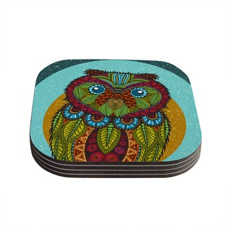 "Kess InHouse Art Love Passion ""Owl"" Teal Multicolor Coasters (Set of 4) 4""x 4"""