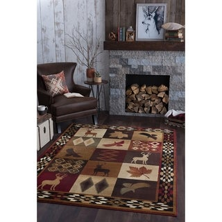 Alise Rugs Natural Lodge Novelty Lodge Area Rug - multi - 3'11 x 5'3