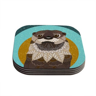 """Kess InHouse Art Love Passion """"Otter in Water"""" Blue Brown Coasters (Set of 4) 4""""x 4"""""""