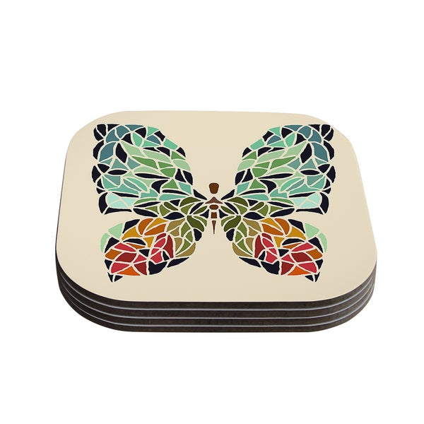 "Kess InHouse Art Love Passion ""Butterfly"" Brown Multicolor Coasters (Set of 4) 4""x 4"""