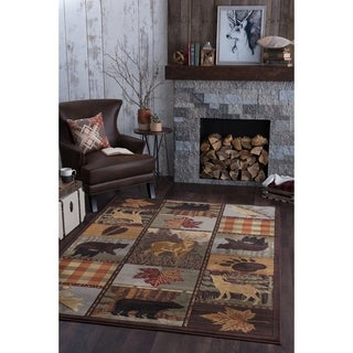 Alise Rugs Natural Multi-color Novelty Area Rug (3'11 x 5'3)
