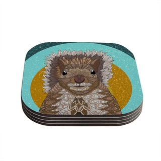 Kess InHouse Art Love Passion 'Squirrel' Teal Brown Coasters (Set of 4)