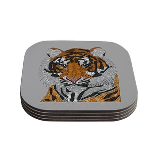 "Kess InHouse Art Love Passion ""Tiger"" Gray Orange Coasters (Set of 4) 4""x 4"""