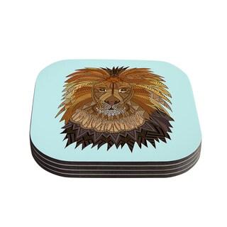"Kess InHouse Art Love Passion ""Lion"" Blue Brown Coasters (Set of 4) 4""x 4"""