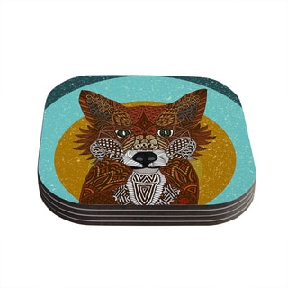 "Kess InHouse Art Love Passion ""Colored Fox"" Blue Orange Coasters (Set of 4) 4""x 4"""