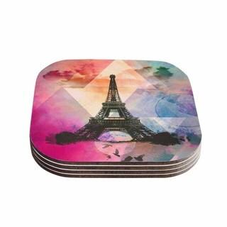 "Kess InHouse alyZen Moonshadow ""EIFFEL TOWER (DEEP PINK)"" Multicolor Coasters (Set of 4) 4""x 4"""