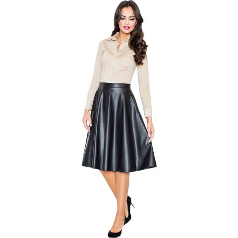 Women's Faux Leather Flare Skirt