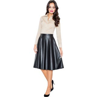 Women's Faux Leather Flare Skirt|https://ak1.ostkcdn.com/images/products/11801063/P18709935.jpg?impolicy=medium