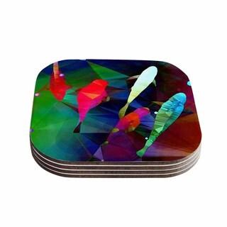 "Kess InHouse AlyZen Moonshadow ""FISH 2"" Blue Purple Coasters (Set of 4) 4""x 4"""