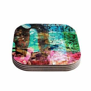 Kess InHouse AlyZen Moonshadow 'GREEN RED ABSTRACT' Multicolor Coasters (Set of 4)