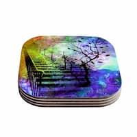 """Kess InHouse AlyZen Moonshadow """"STAIRWAY"""" Blue Tree Coasters (Set of 4) 4""""x 4"""""""