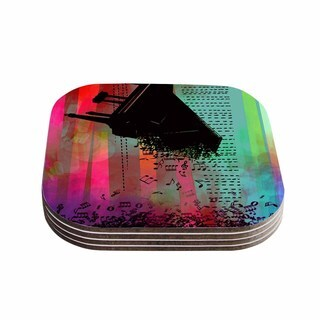"""Kess InHouse alyZen Moonshadow """"A GRAND DELUGE (RED)"""" Multicolor Abstract  Coasters (Set of 4) 4""""x 4"""""""
