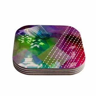 """Kess InHouse alyZen Moonshadow """"ESCAPE"""" Purple Multicolor Coasters (Set of 4) 4""""x 4"""""""