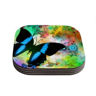 "Kess InHouse alyZen Moonshadow ""Colorful Blue"" Multicolor Butterfly Coasters (Set of 4) 4""x 4"""