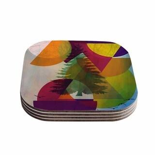 "Kess InHouse alyZen Moonshadow ""HIDDEN FACE"" Multicolor Coasters (Set of 4) 4""x 4"""