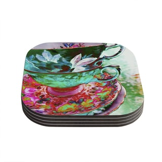 Kess InHouse alyZen Moonshadow 'Mad Hatters T-Party IV' Green Pink Coasters (Set of 4)