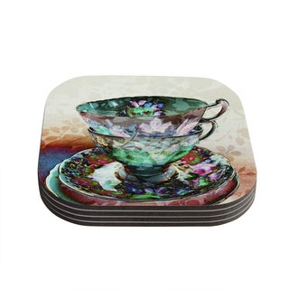"""Kess InHouse alyZen Moonshadow """"Mad Hatters T-Party III"""" Abstract Coasters (Set of 4) 4""""x 4"""""""
