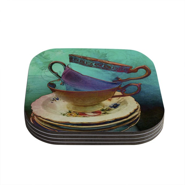 "Kess InHouse alyZen Moonshadow ""Mad Hatters T-Party I"" Turquoise Coasters (Set of 4) 4""x 4"""