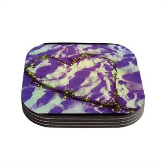 Kess InHouse Anne LaBrie 'Purple Tiger Love' Purple Yellow Coasters (Set of 4)
