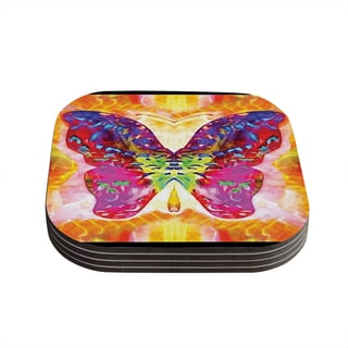 "Kess InHouse Anne LaBrie ""Butterfly Spirit"" Pink Yellow Coasters (Set of 4) 4""x 4"""